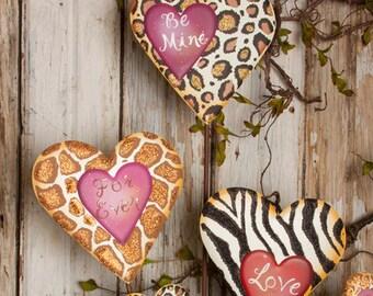 Animal Love Hearts - Set of 3/Wreath Supplies/Valentine's Day Decor/V5000