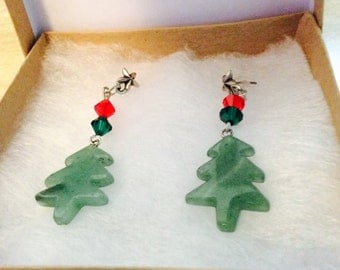 Christmas tree earrings, Holiday earrings, crystal dangle earrings, red green jewelry, made in America, small business, JeriAielloartstore