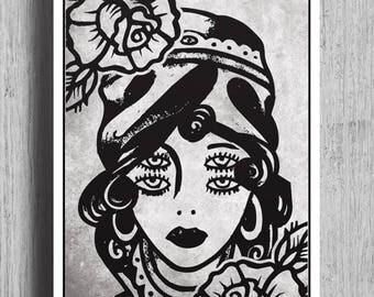 4 EYED GIRL Tattoo Flash Print |  Wall Art | Wall Decor | Tattoo Print | Traditional Tattoo Flash | Black & Grey