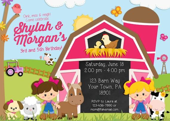 Farm Birthday Invitation, barnyard invitation, sisters, two girls, friends, cousins