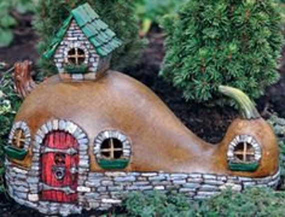 Gourd Ranch Fairy House W/ Door That Opens Cottage Abode