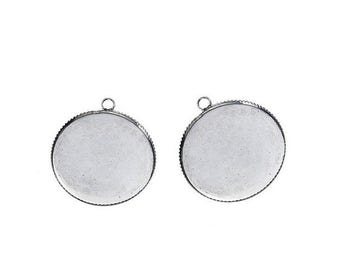 10 media Cabochons 25mm silver Matt