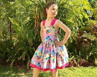 Girls Summer Knot Back Twirly Dress, Mini Mouse, Barbie or TinkerBell.