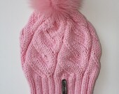 Handmade knitted wool beanie womens girls hat pink with real fur detachable pom poms