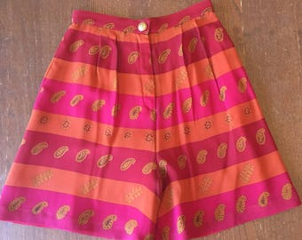 Vintage Silk High Waisted Shorts size 4 paisley fuchsia orange striped fully lined chunky gold button flowy light summer festival womens rad