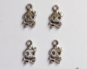10 girl skull charms bow - SCS