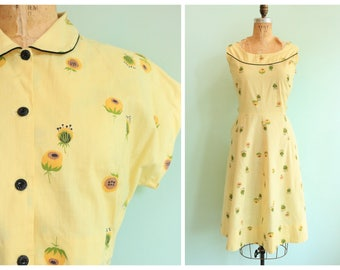 Vintage 1940s Yellow Floral Cotton Linen Dress and Jacket | Size Large/Extra Large