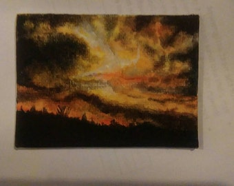 Turbulent sunset, aceo card