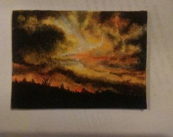 Turbulent sunset, aceo card