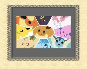 Eevee evolutions Eeveelutions Cross Stitch Pattern