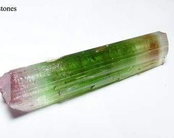 Doubly Terminated GEM Quality Bi-color Multi-color Watermelon Tourmaline Crystal