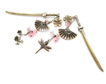 Single or set Japanese hair sticks with frosted bright pink and white lucite flowers - sakura kanzashi japan fans dragonfly pins chopsticks