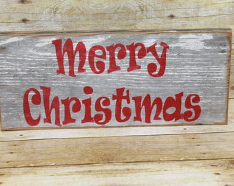 Farmhouse Reclaimed Wood 'Merry Christmas' Sign Salvaged Old Barn Wood Chippy Paint