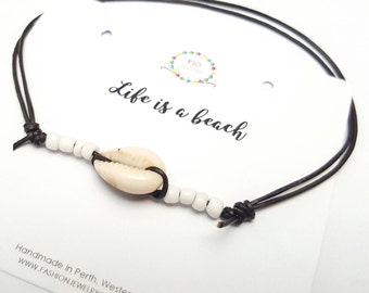 Cowrie shell anklet Beach anklet Adjustable leather anklet Ankle bracelet Mens Unisex foot bracelet Gift ideas Gifts under 10