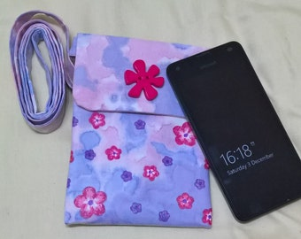 Small Cross Body Bag Hand Dyed Lilac & Pink With Flowers, Cell Phone Purse, Passport Pouch, Go Lite Bag, Night Out Bag, Hipster Purse