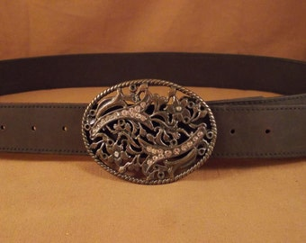 FREE SHIPPING! Handmade woman brown leather belt with large buckle