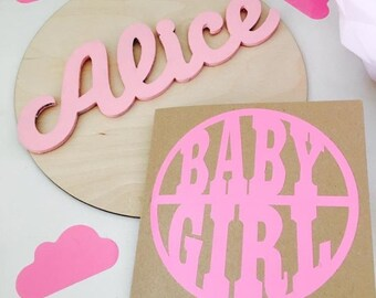 Wooden wall / door plaque & new baby card set