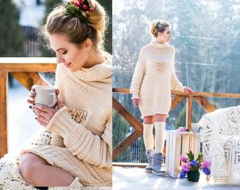 Oversized sweater - Knit dress - Cream Oversize Dress - Sister gift - Hand knit sweater - Wool Sweater - Christmas gift - Winter dress
