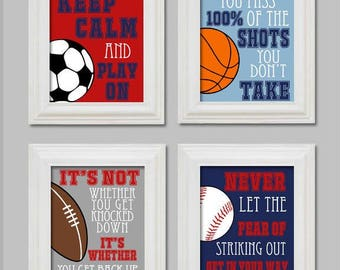 11x14 Sports, Boys Bedroom Decor, Sports, Soccer, Football, Baseball, Basketball, Boys, Athletic, Nursery