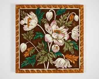 Antique 1980s Victorian pink anemones pottery tile