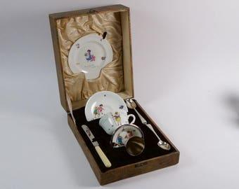 Antique 1930s Art Deco Royal Doulton bone china nursery rhyme christening set