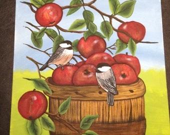 Chickadees in apple tree painting