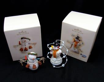 Hallmark snowmen ornaments lot-garden bells-magic of frosty snowman-vintage hallmark onarments-vintage christmas ornaments
