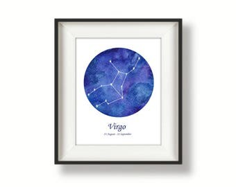 Zodiac - Virgo - Constellation - Watercolour Art Print