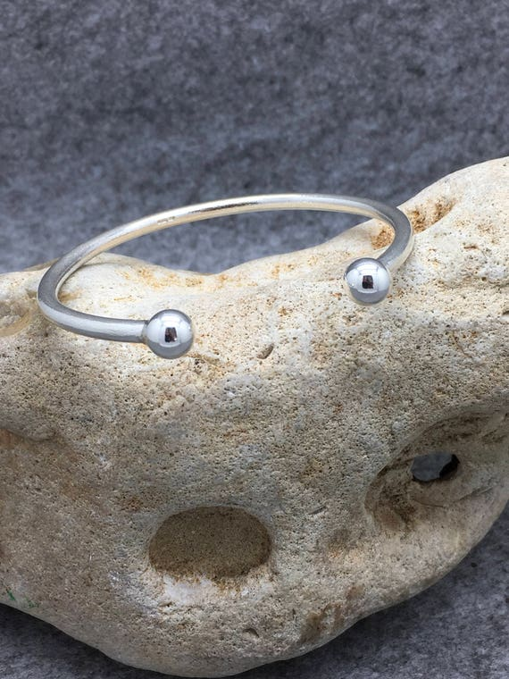 Handcrafted Solid Sterling Silver Satin Bangle, Hallmarked.