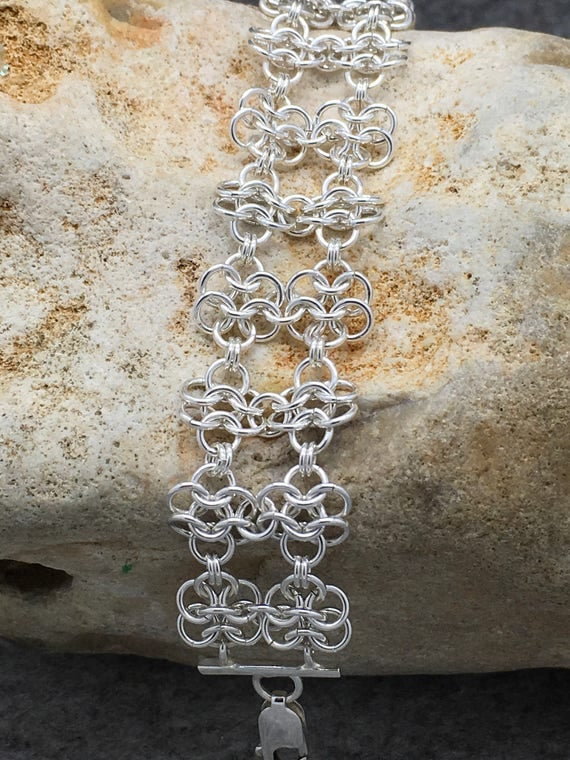 Sterling Silver Flower Chainmaille Bracelet Hallmarked