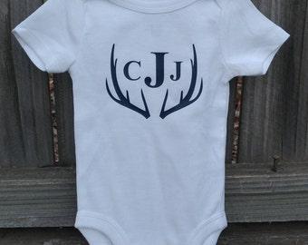 Monogrammed Deer Antler Onesie- Baby Boy- 0-12 Months- Short Sleeve- Long Sleeve