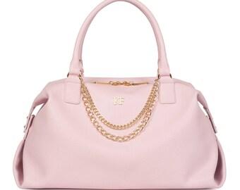 Leather Top Handle Bag, Pink Leather Handbag Top Handle, Women's Leather Bag KF-1105