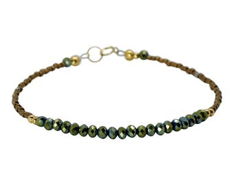 Green Iridescent Crystal and Seed Bead Strand Bracelet