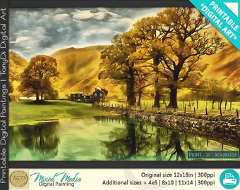 English Countryside in Autumn, Beautiful Nature Digital Painting • Nature Printable Wall Art, Home Decor, Wall Landscape Large Art Decor