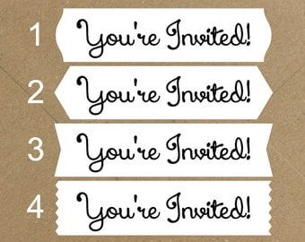 Envelope Seals / Stickers - You're Invited # 730 Qty: 30 Stickers