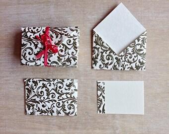 """12 mini Envelopes incl. inserts, Italian letter press paper, 3""""x2"""""""