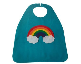 Rainbow cape for kids birthday gift or party favor - girls cape - supergirl dress up outfit for Halloween costume or Christmas present