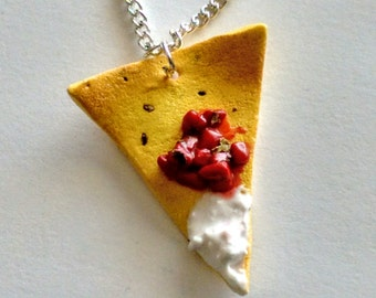 Nacho Chip with Salsa and Sour Cream Necklace, Miniature Food Jewelry, Inedible Jewelry, Nachos Jewelry, Mexican Food Jewelry, Tortilla Chip