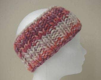 knit ear warmer pink purple kids chunky head warmer size 6-11 yrs warm comfortable knit thick yarn head band girl princess sweet colors