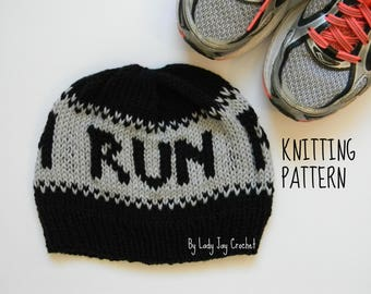 PATTERN: Run Beanie | Beanie for runners | athletic knit hat | knit winter hat for runners | fair isle knit hat tutorial | knit winter hat