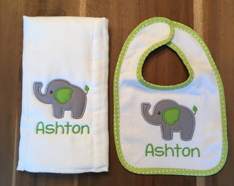 Classic Elephant Bib + Burp Cloth Set : personalized, embroidered, appliqued, name, shower gift
