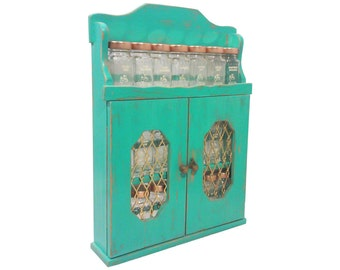 Vintage Turquoise Spice Rack, Hand Painted Wood with Jars-Shabby Chic Style