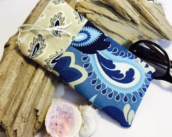 Paisley Glasses Case, Zip Top Eyeglasses Pouch, Blue Sunglasses Case, Fabric Glasses Case, Soft Eyeglass Case