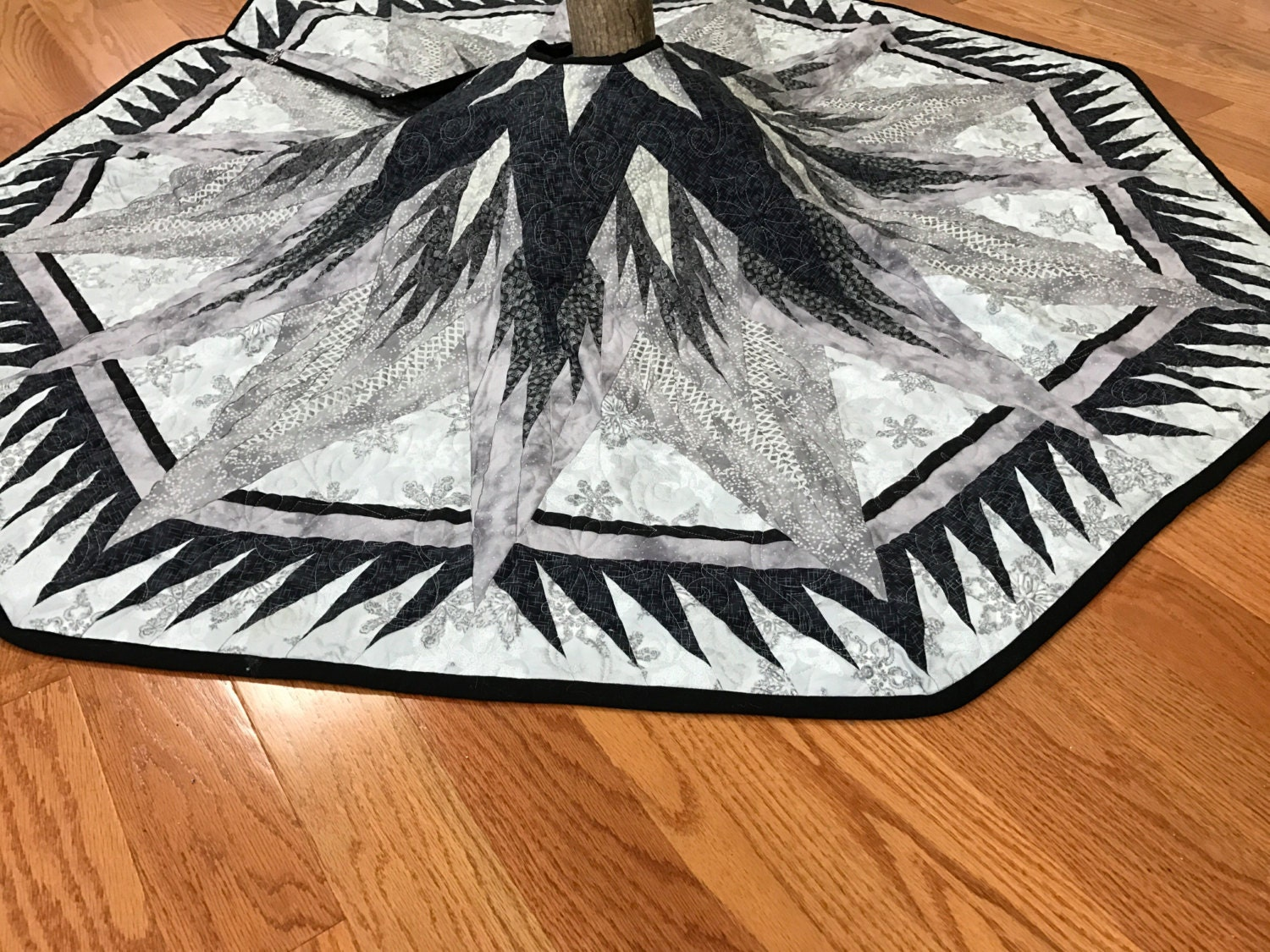 Silver Snowflake Quilted Tree Skirt Large Christmas Tree