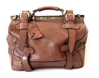 Leather Weekend Bag, Travel Bag, Vintage, Desa, Vintage Luggage, Railroad Train Case,  Large Suitcase, Men's Gift, Father's Day Gift