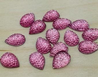 Pink dotted rhintestone 10x14mm resin teardrops 8 pcs