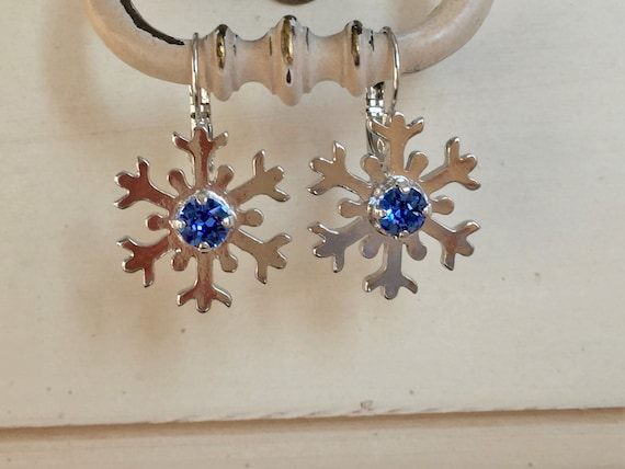 Sapphire Crystal Snowflake Earrings, Silver