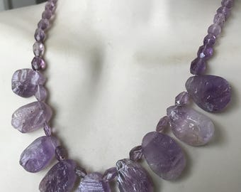 Amethyst Gemstone Necklace 925 Sterling Silver and Rough Sliced Amethyst Gemstone Necklace - lavendar Beauty