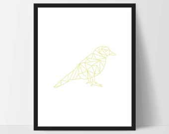Yellow Geometric Bird, Wall Art, Wall Print, Boho Art, Wall Prints, Bird Prints, Art, Sitting Bird, Art