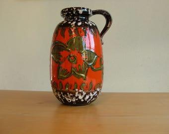 Scheurich 484 27 vase bright orange, green, dark brown with white foam speckles, fat lava